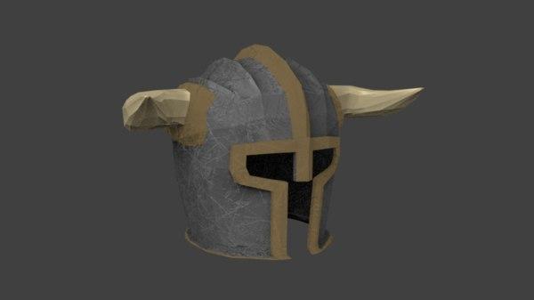 3D model helmet horns