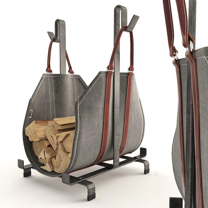 3D fireplace firewood accessories model