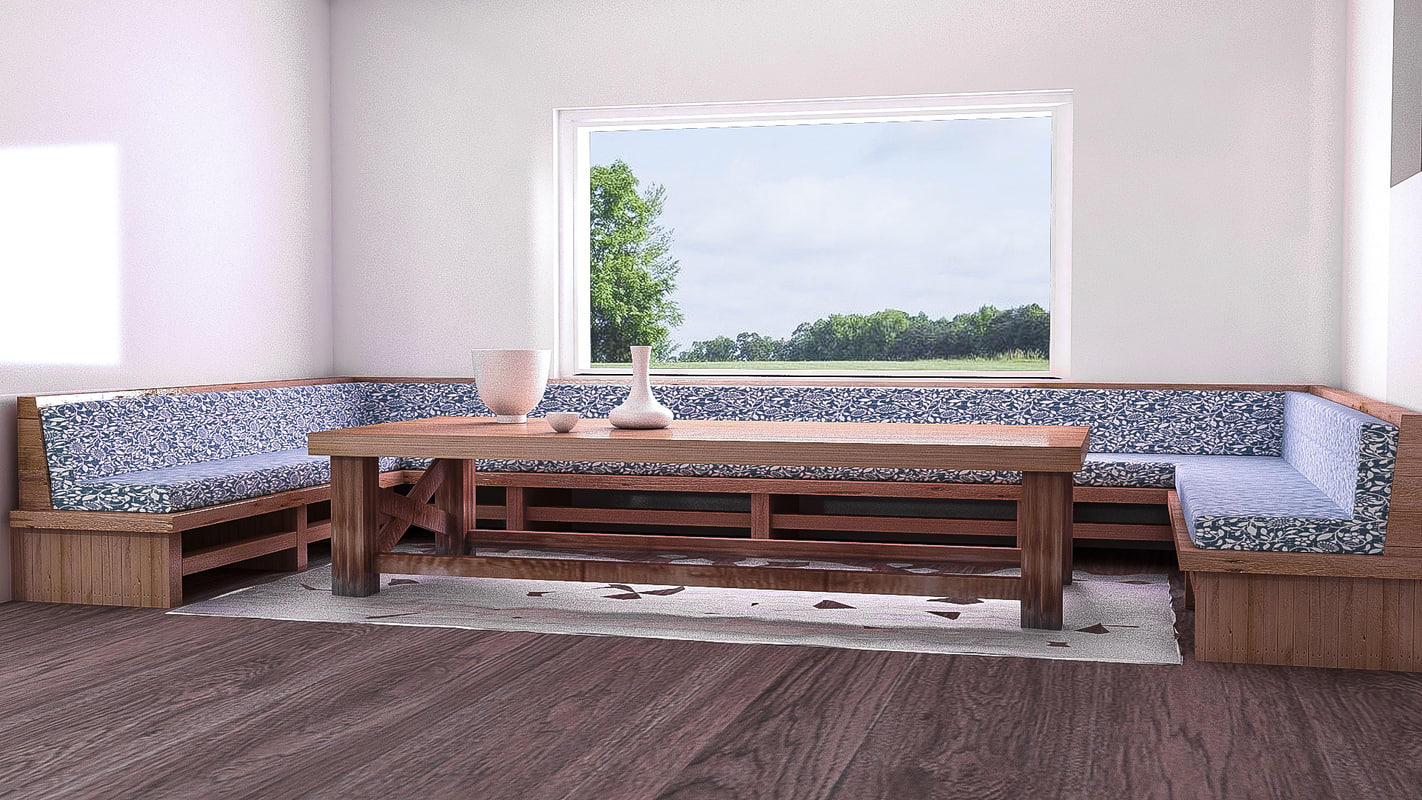 3D rustic dinning table model