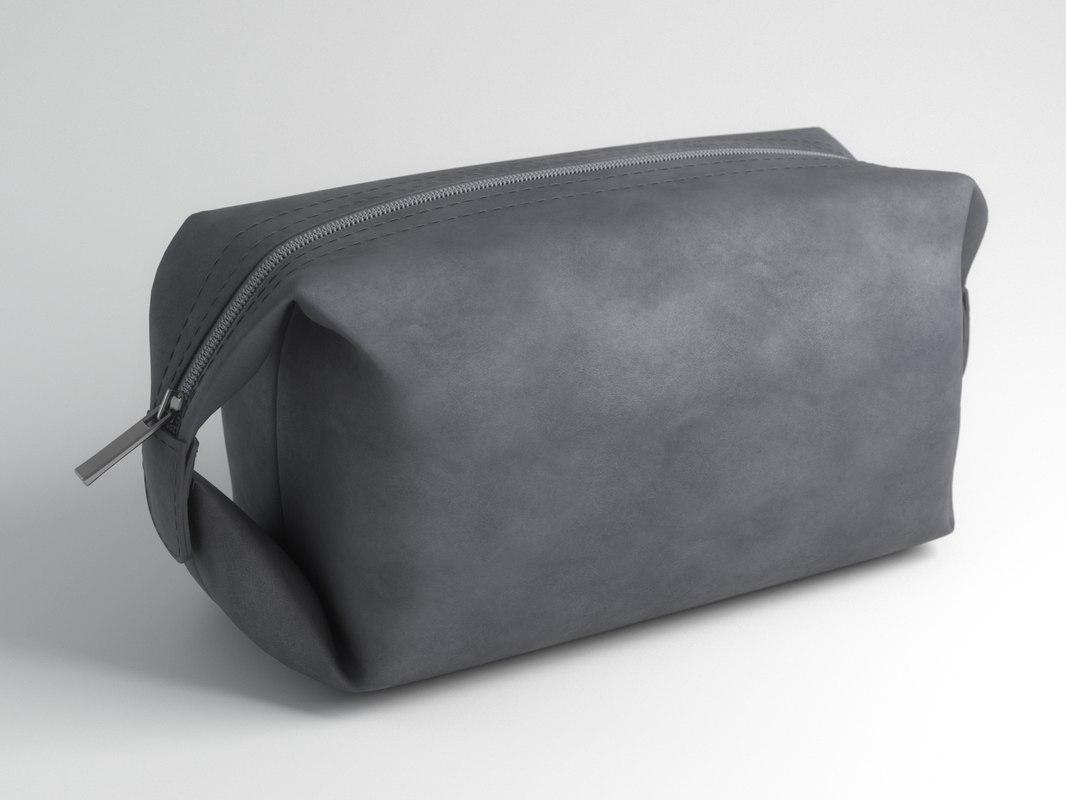 3D grey leather bag