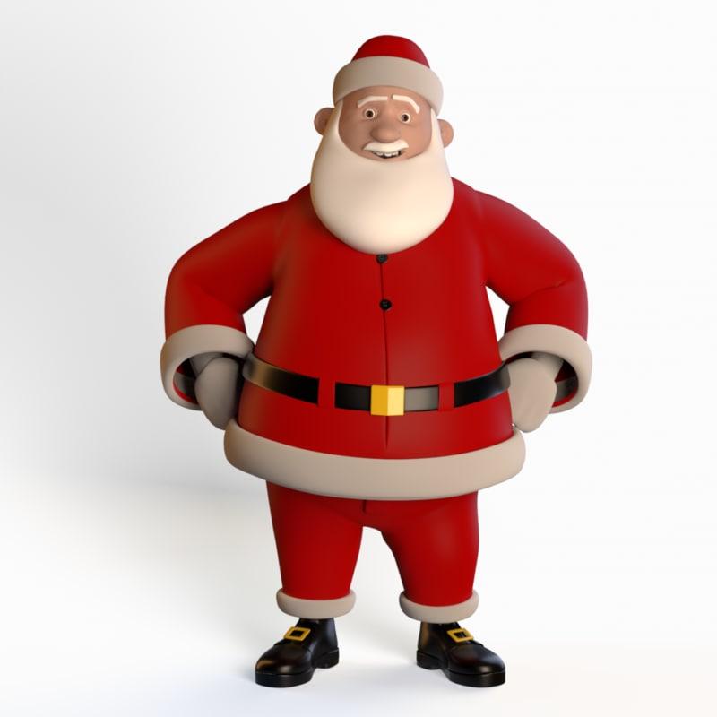 rigged cartoon santa claus 3D model