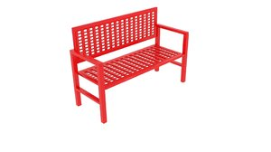 3D wireframe bench