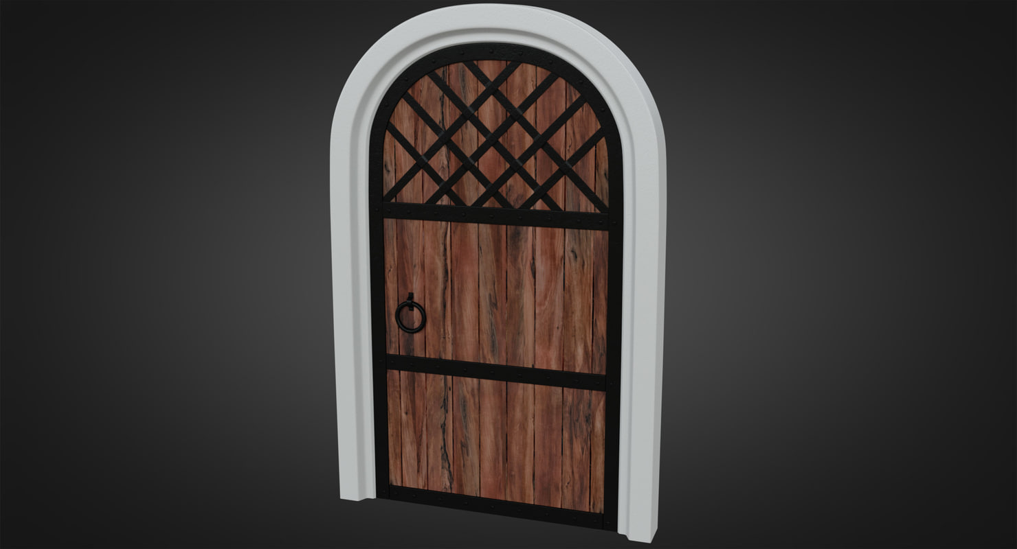 forged wooden door pbr model