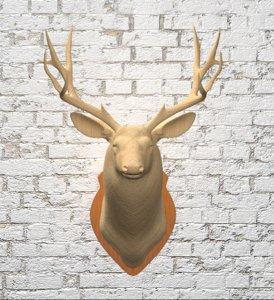 wooden deer head model