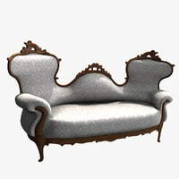 victorian double-spoonback sofa white model
