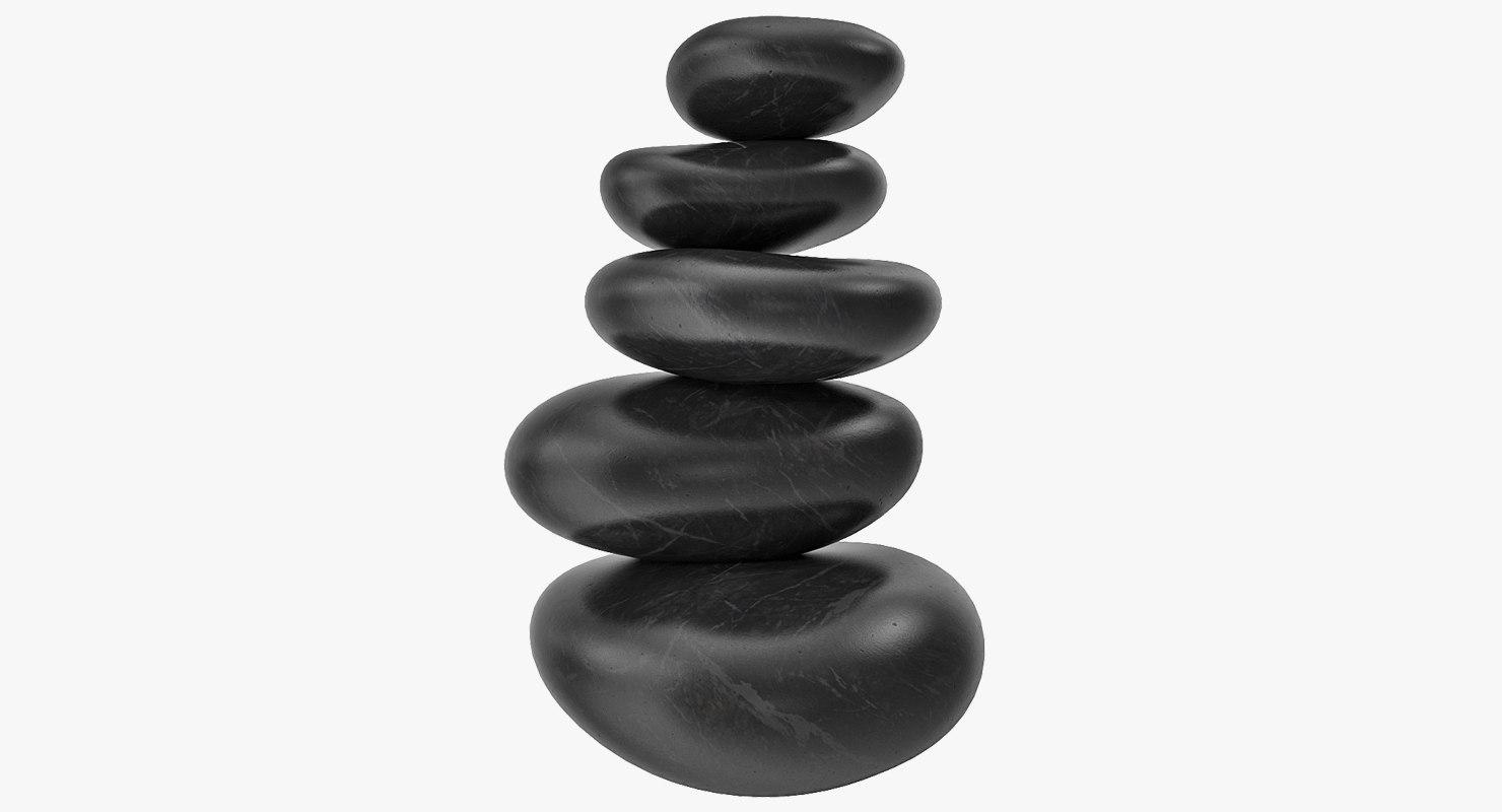 3D black zen stones pyramid
