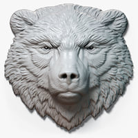 3D bear calm relief head model