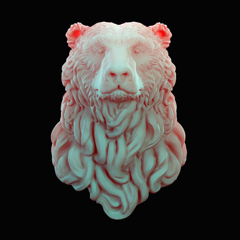 3D bear head curly