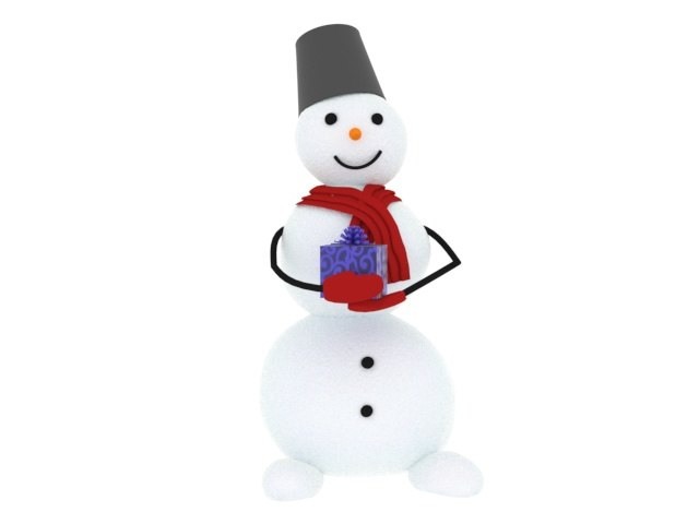 realistic snowman 3D