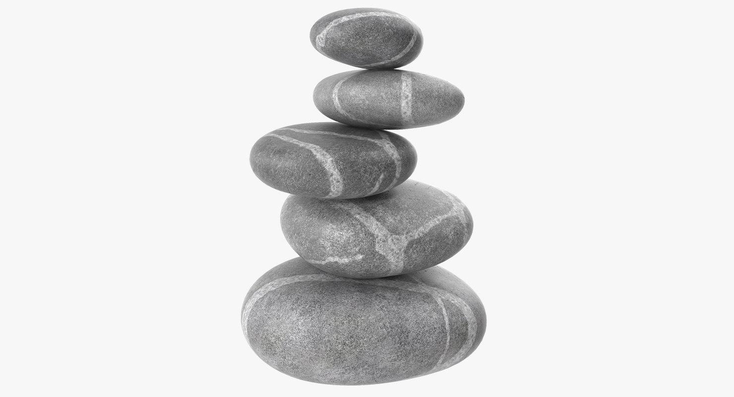 3D zen stones model
