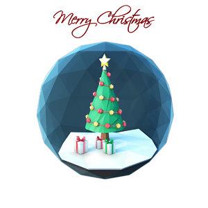 christmas scene glass ornament 3D model