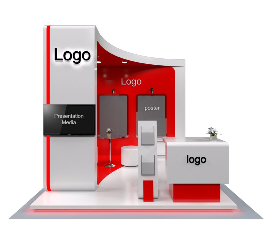 3x3 exhibition stand booth 3D model