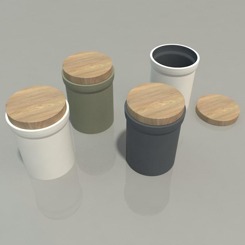 3D Ceramic Jars Wood Lids Model