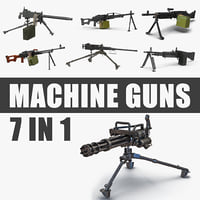 Machine Guns 3D Models Collection