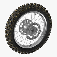 3D model motocross motorcycle rear wheel