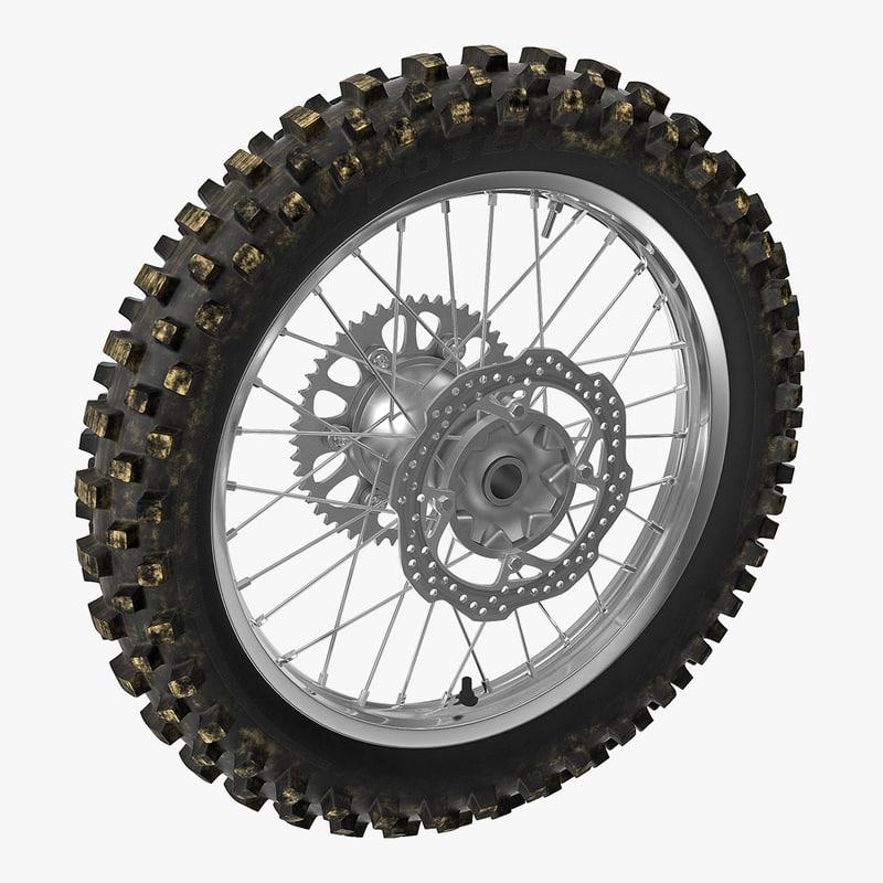 3D model motocross motorcycle rear wheel