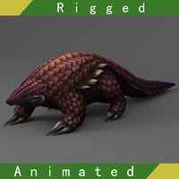 3D pangolin rigged 01 animations model