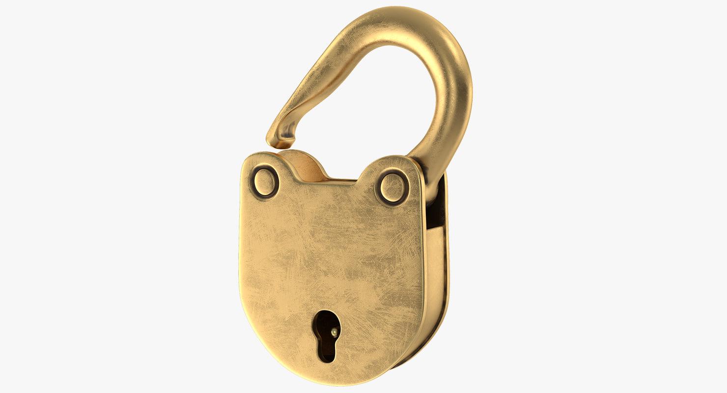 3D vintage brass padlock