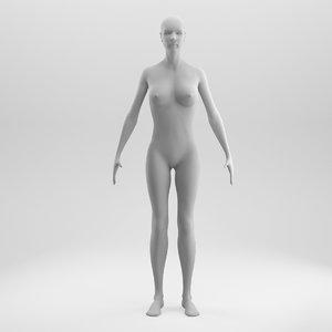 3D rigged female base mesh