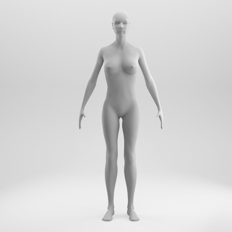 3D rigged female base mesh