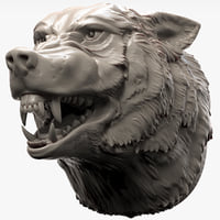 wolf head angry 3D