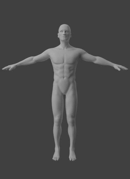 3D male body base model