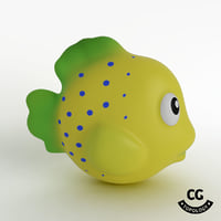 bath toy fish yellow 3D model