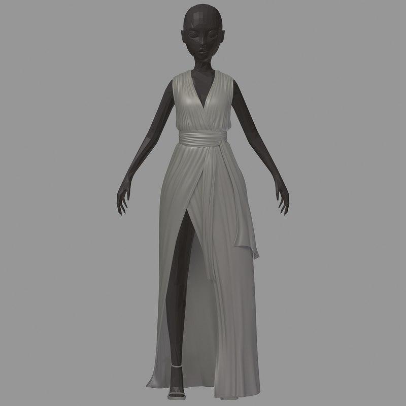 women base summer long 3D model