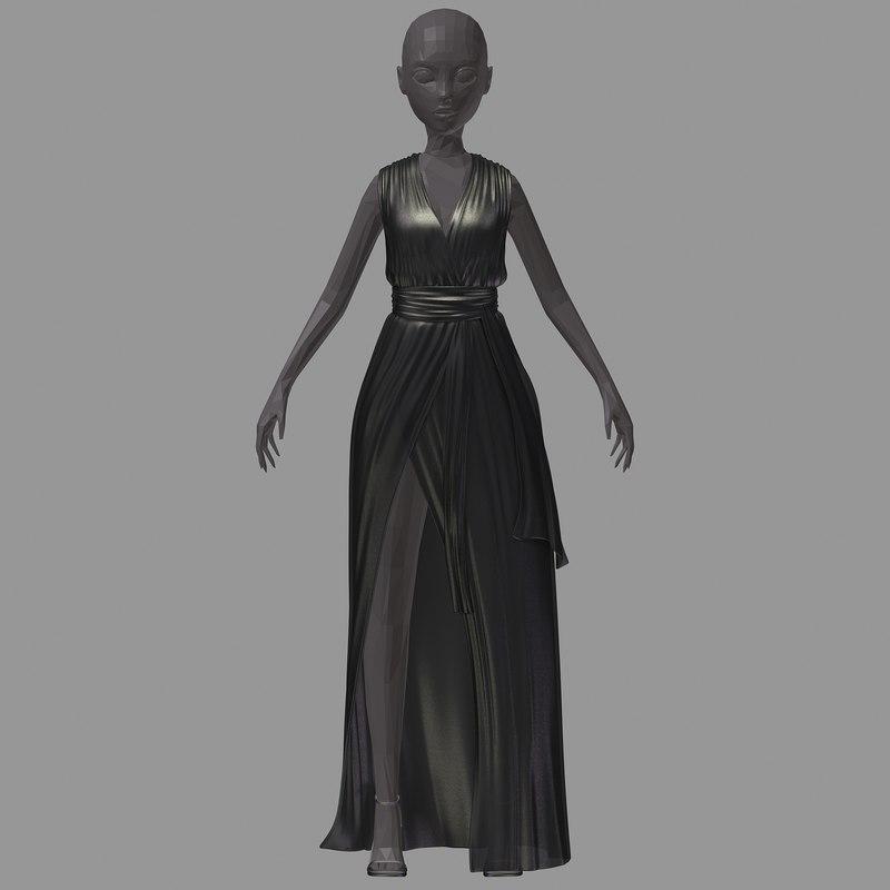 3D model women summer long black