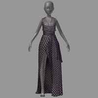 women summer long black 3D model