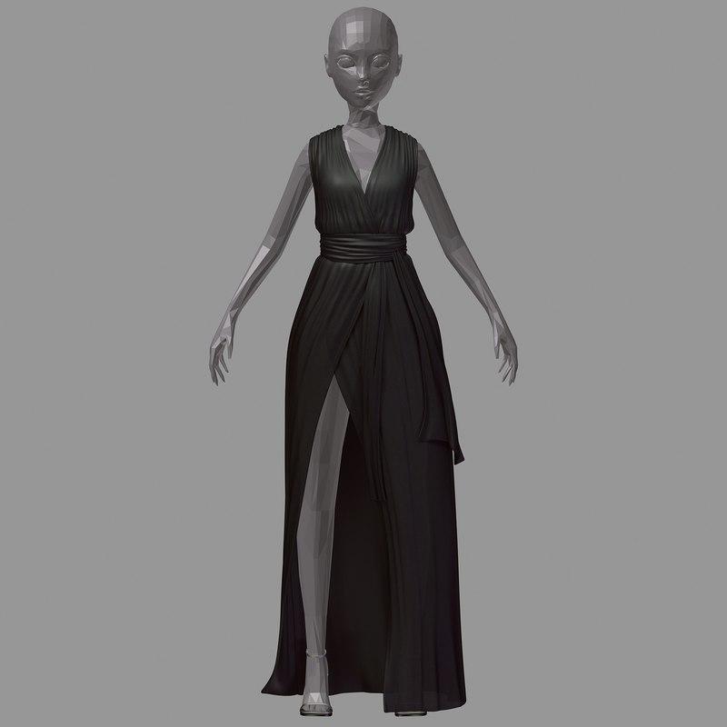 3D dress long model