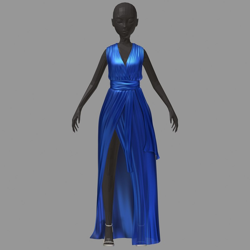 3D women summer long blue