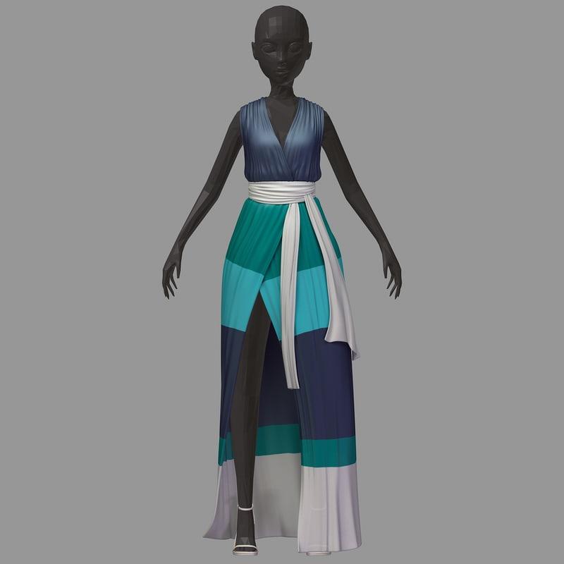 women summer long green 3D model