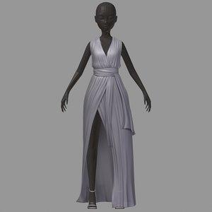 3D model women summer long grey