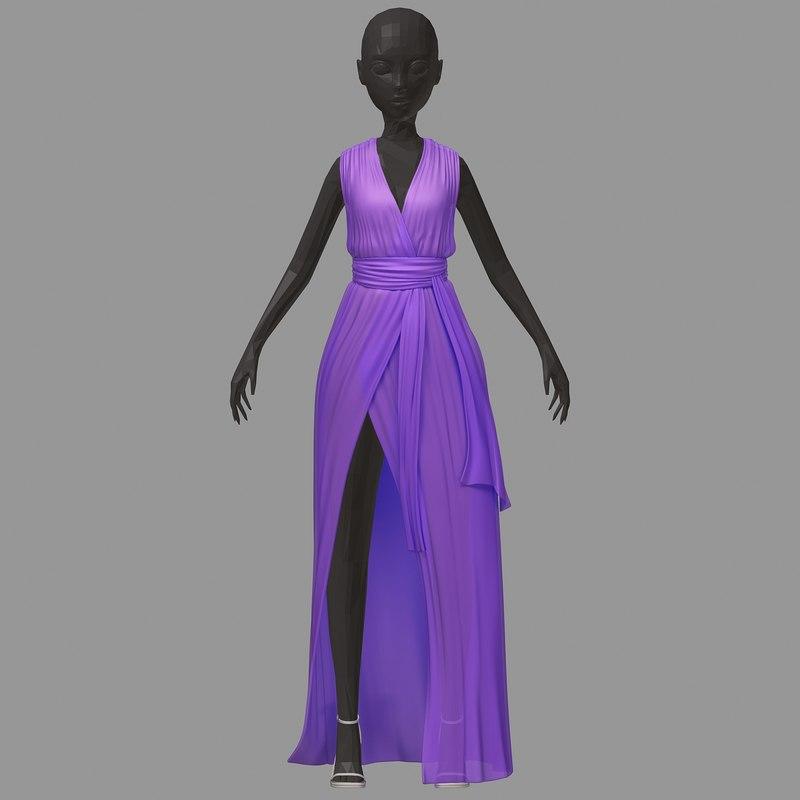women summer long lilac 3D