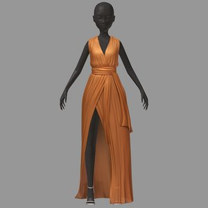 women summer long orange 3D model