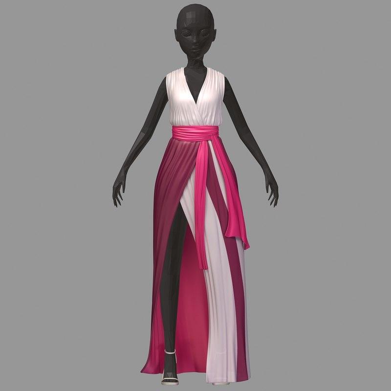 3D women summer long pink model