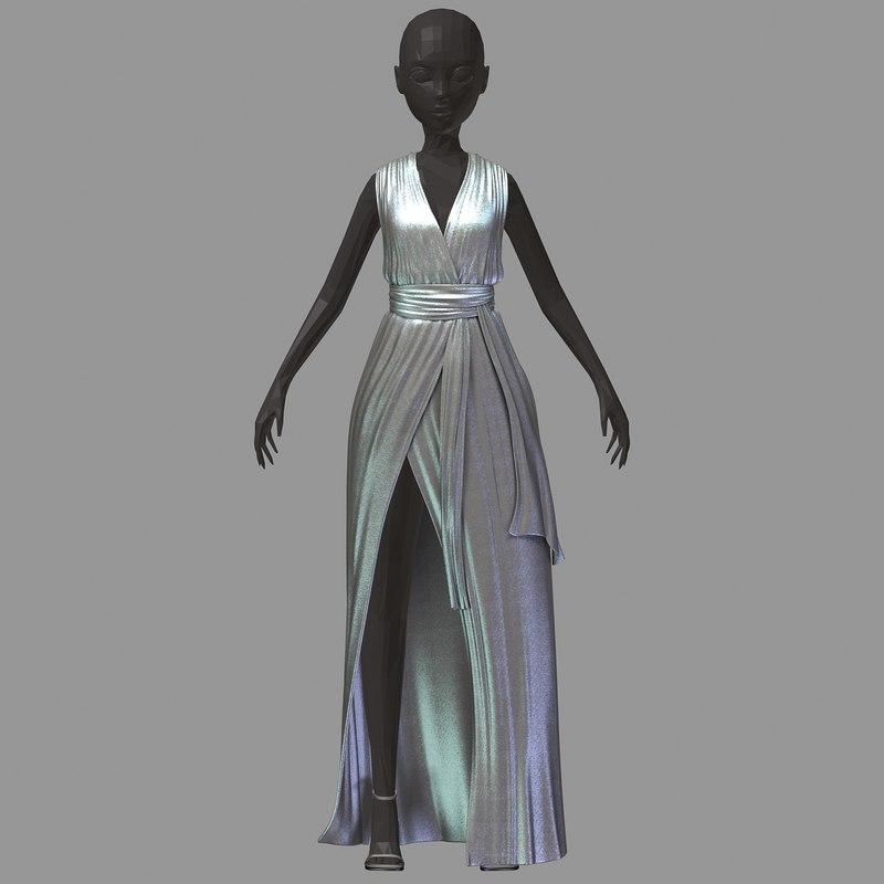 3D women summer long silber