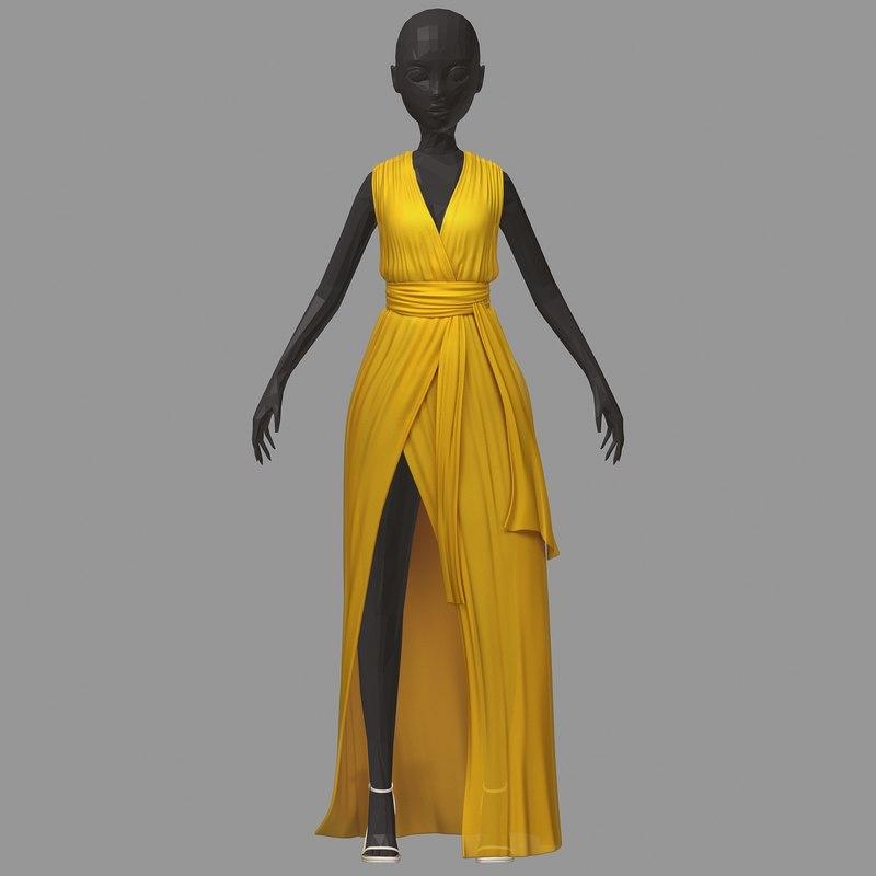 women summer long yellow 3D model