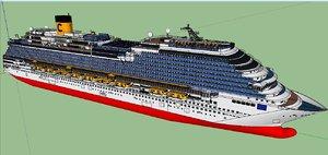 costa diadema cruise ship 3D model