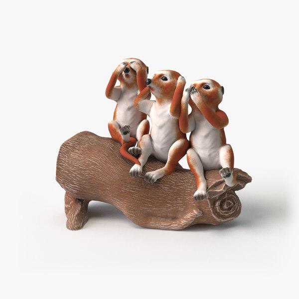 figurine suricates 3D