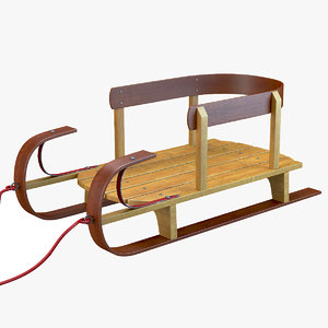 3D classic wood kids sled model