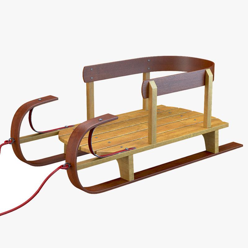 3D classic wood kids sled model