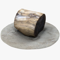 rustic wood stump 2 model