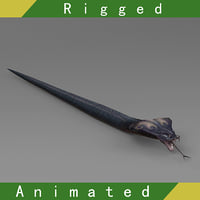 snake rigged 01 animations 3D model