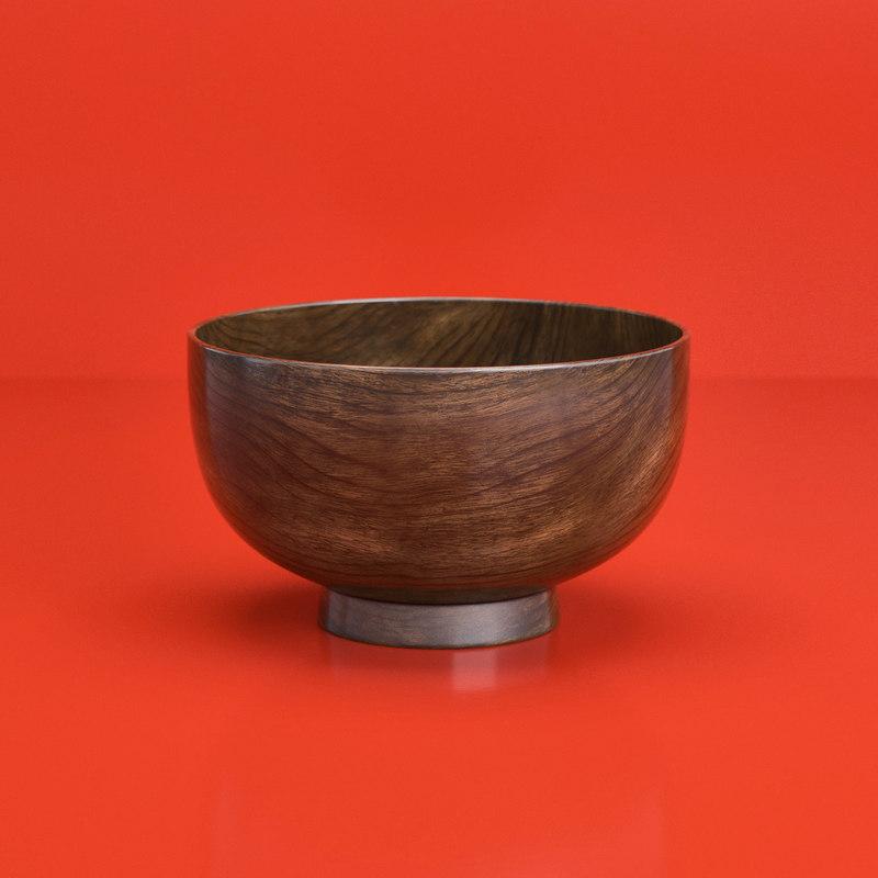 closeup japanese wooden bowl model