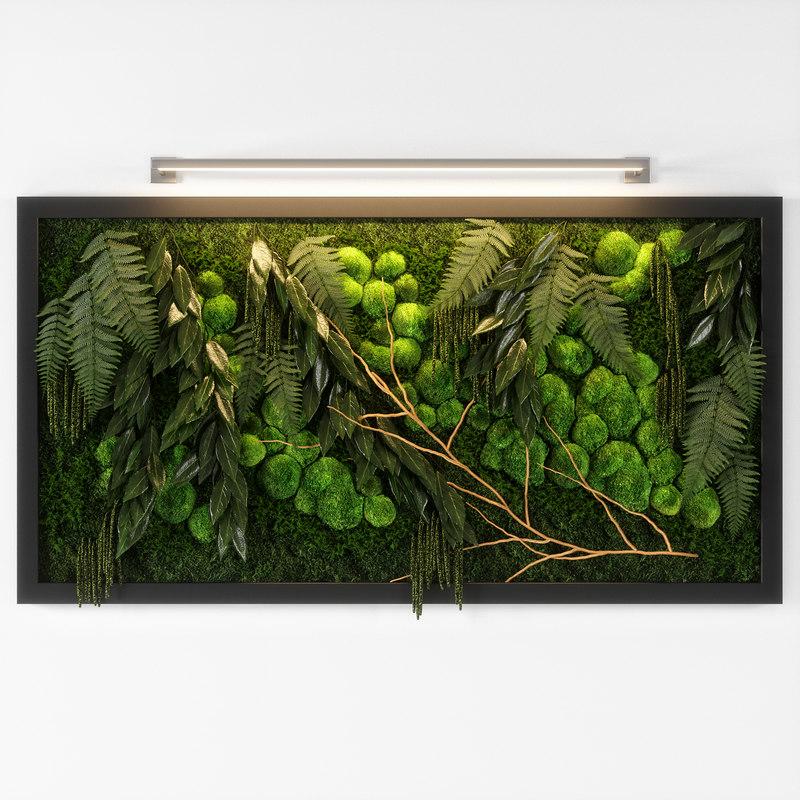 3D panel green 02 model