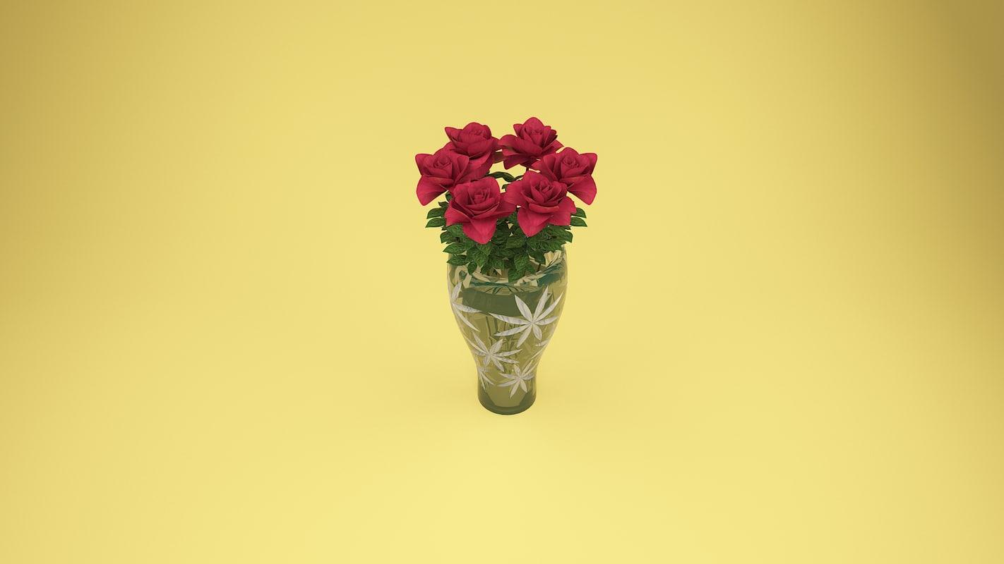 flowers red rose 3D model