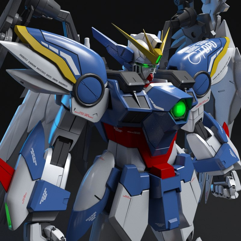 3D wing gundam zero custom model