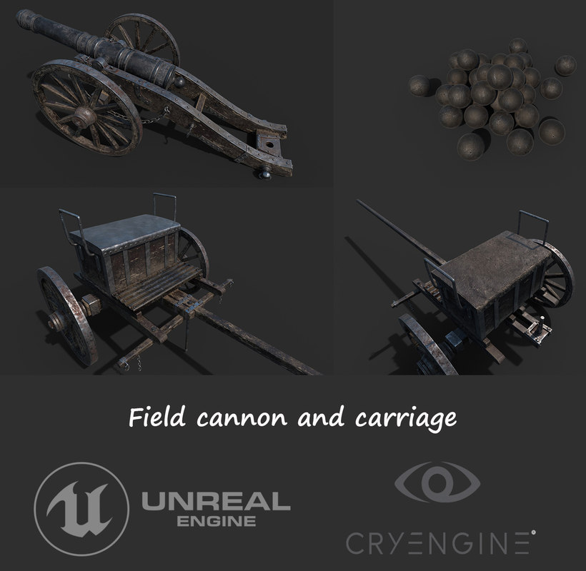 3D cannon carriage
